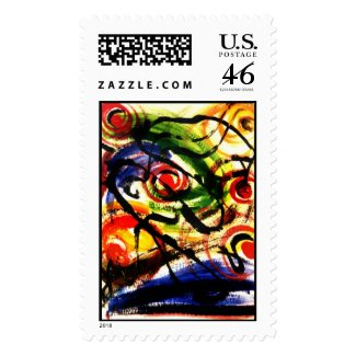 Atomic Energy Abstract Painting Stamp stamp