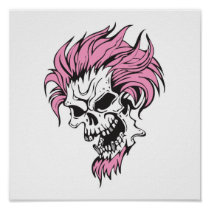 crazy pink hair skull posters