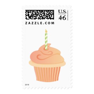 Cupcake with a Candle stamp