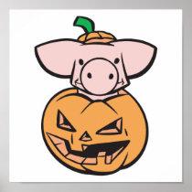 cute pig in jack-o-lantern pumpkin posters