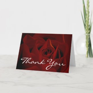 Red rose thank you cards