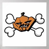 evil jack o lantern crossbones posters