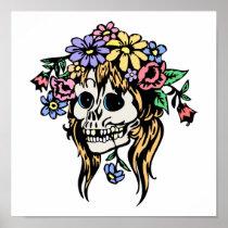 flower girl skull posters