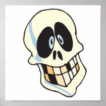 funny grinning skeleton skull posters