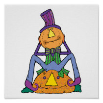 funny pumpkin man scarecrow posters