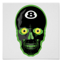 green 8 ball skull posters