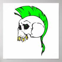 green mohawk skull posters