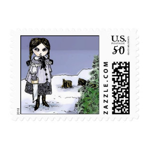 gothic holiday girl postage stamps  in association with Zazzle.com