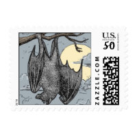 halloween moon and bat postage stamps  in association with Zazzle.com