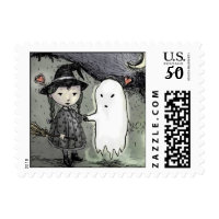 halloween witch loves ghost postage stamps  in association with Zazzle.com