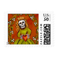 calavera with heart postage stamps  in association with Zazzle.com