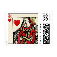 queen of hearts postage stamps  in association with Zazzle.com