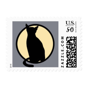 halloween black cat postage stamps  in association with Zazzle.com