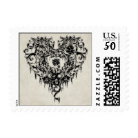 Gothic Lace Heart postage stamps in association with Zazzle.com