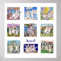 cute dancing bunny rabbits poster print