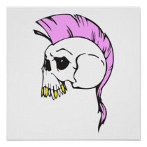 pink mohawk skull posters