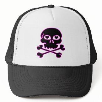 Pink Neon Black Skull Hat hat
