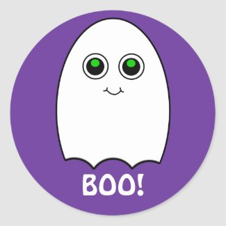 Puffy Toon Ghost Boo Halloween Sticker sticker