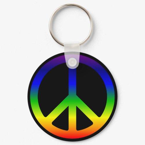 Rainbow Peace Symbol Keychain keychain