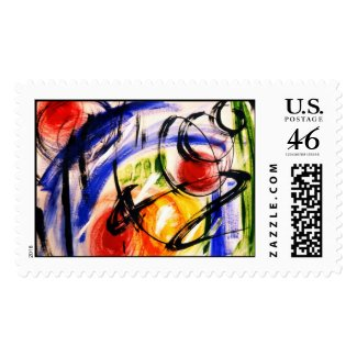 Space Travel Abstract Painting Stamp stamp