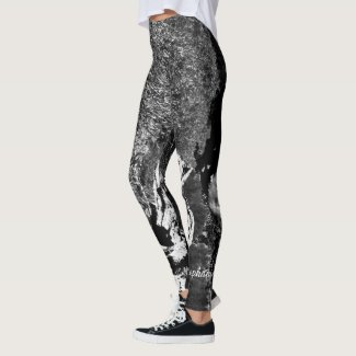 Abstract Black and White with Personalized Name Leggings