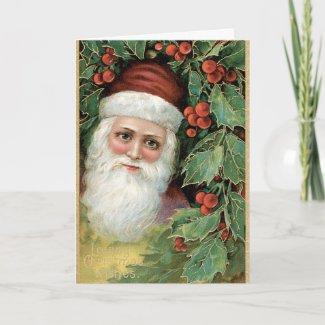 Vintage Santa Christmas Card card