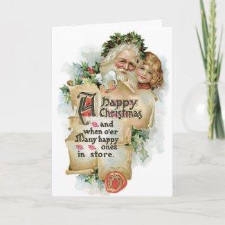 Vintage Santa Kids Christmas Card card