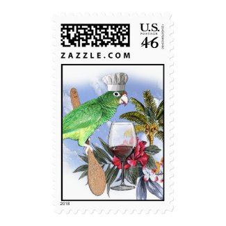 wine and dine parrot stamp