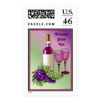 Wine & Grapes Invitation Postage stamp